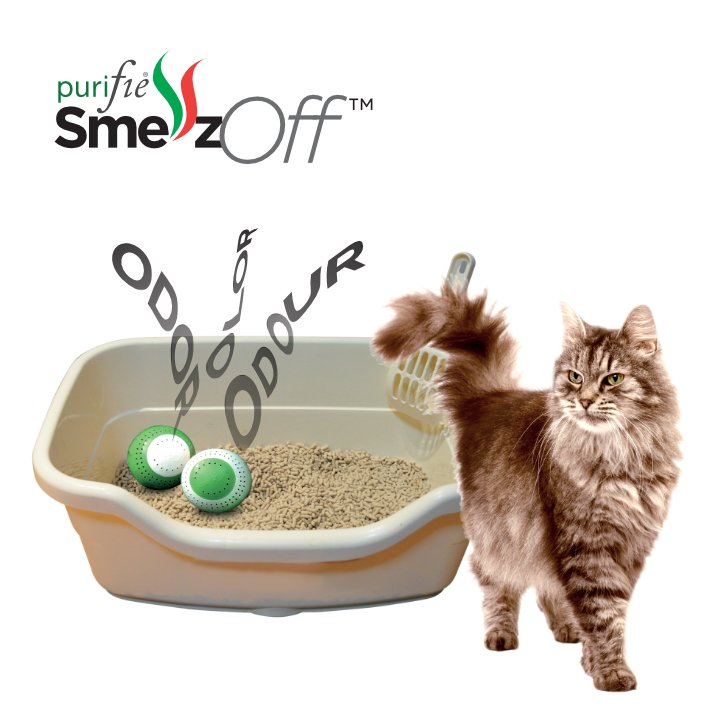Natural odour absorber for cat litter tray